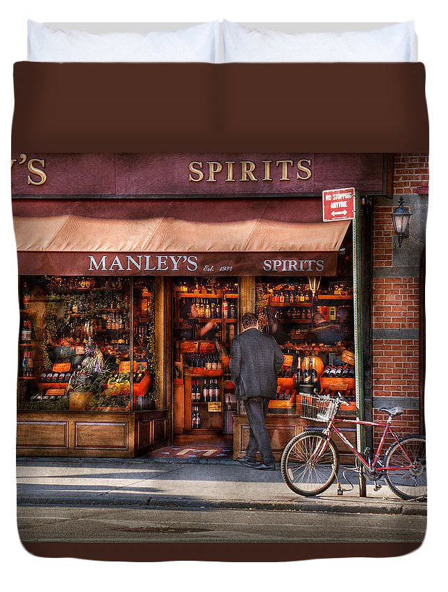 Manley Duvet Cover featuring the photograph Store - Wine - Ny - Chelsea - Wines And Spirits Est 1934 by Mike Savad