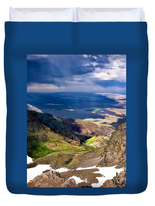Steens Duvet Cover featuring the photograph Storm Above The Alvord Desert by Kathleen Bishop