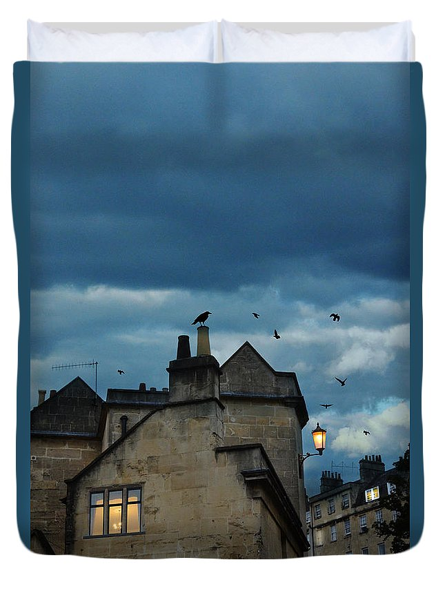 Bath Duvet Cover featuring the photograph Storm Above Town by Jill Battaglia