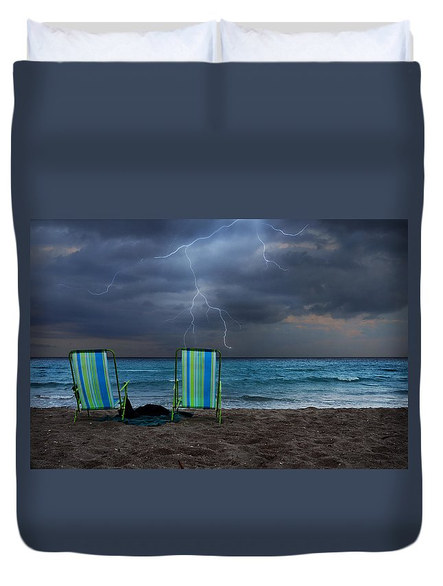 Lightning Duvet Cover featuring the photograph Storm Chairs by Laura Fasulo