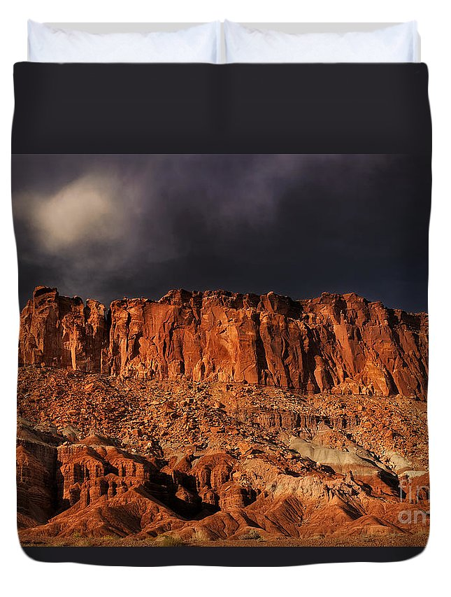 North America Duvet Cover featuring the photograph Storm Clouds Capitol Reef National Park Utah by Dave Welling