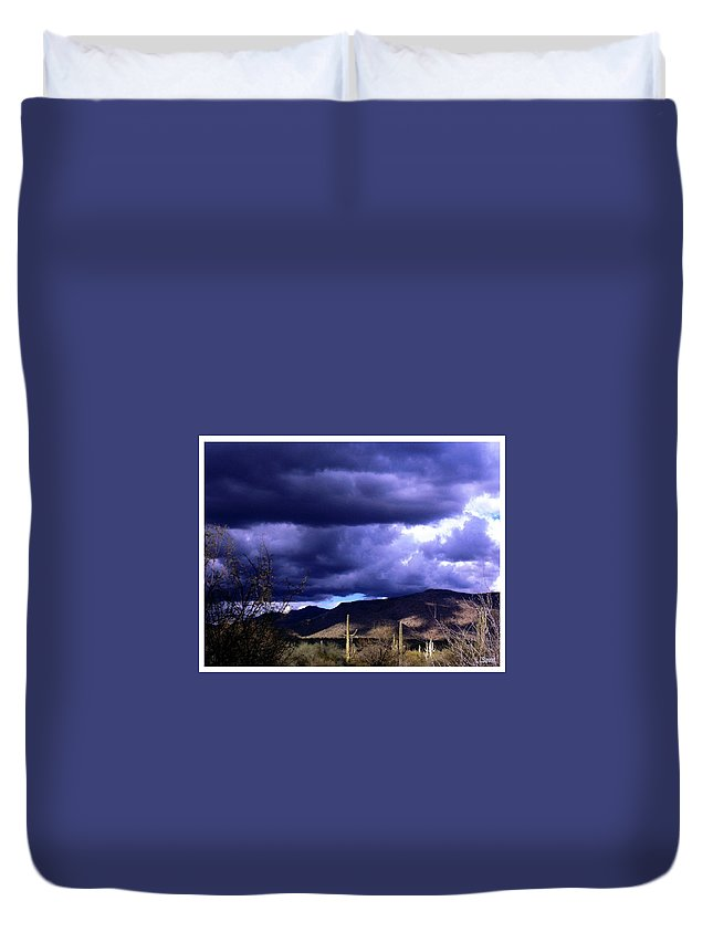 Arizona Duvet Cover featuring the photograph Storm Clouds In The Desert by L L Stewart