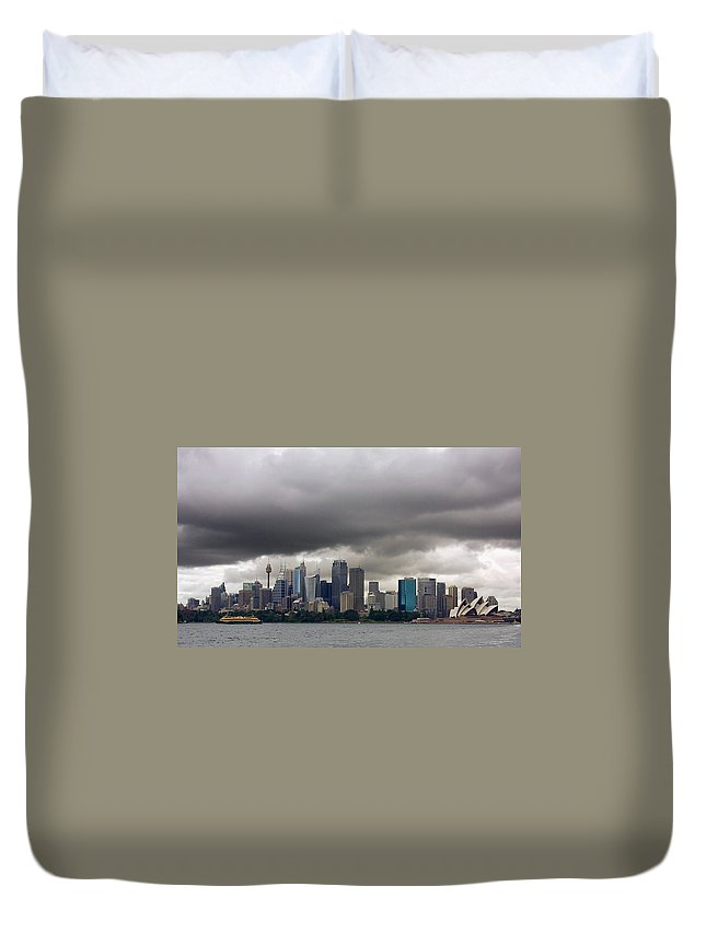 Storm Duvet Cover featuring the photograph Storm Clouds Over Sydney by Stuart Litoff