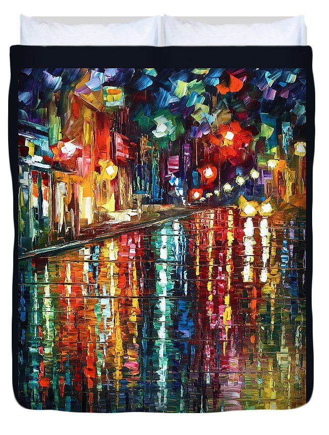 Town Duvet Cover featuring the painting Storm in The City by Leonid Afremov