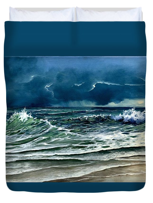 Landscape Duvet Cover featuring the painting Storm Off Yucatan Mexico by Lynne Wright