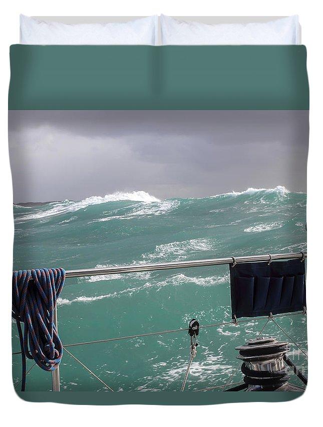 Sea Duvet Cover featuring the photograph Storm On Tasman Sea by Jola Martysz