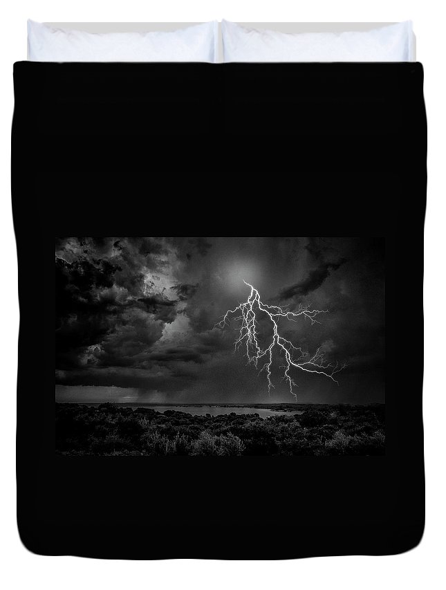 Outdoors Duvet Cover featuring the photograph Storm Over Benbrook Lake by Dean Fikar