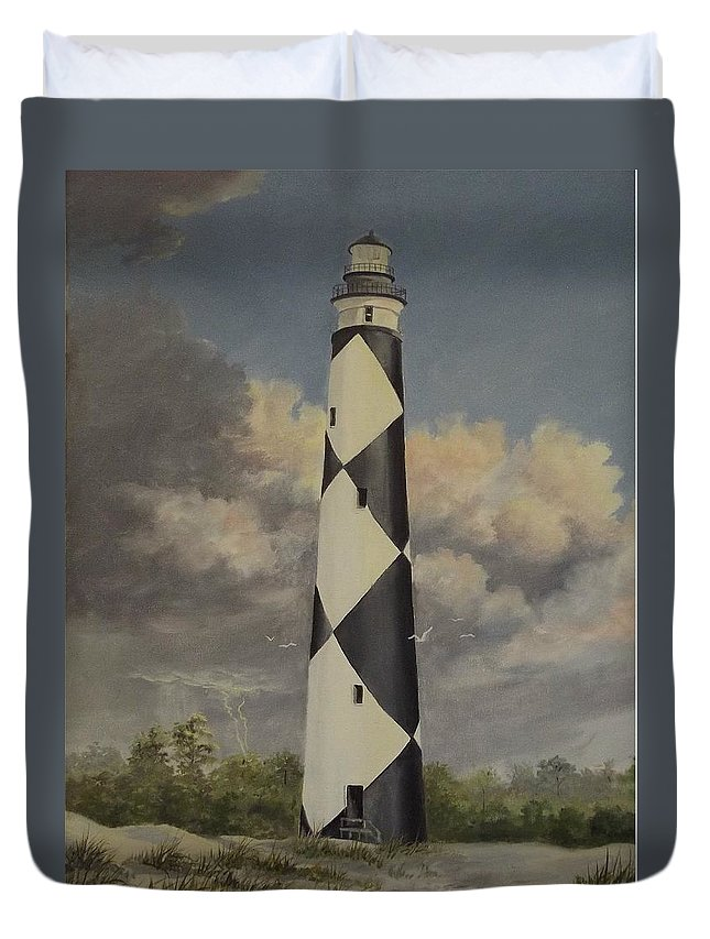 Stormy Skys Duvet Cover featuring the painting Storm Over Cape Fear by Wanda Dansereau