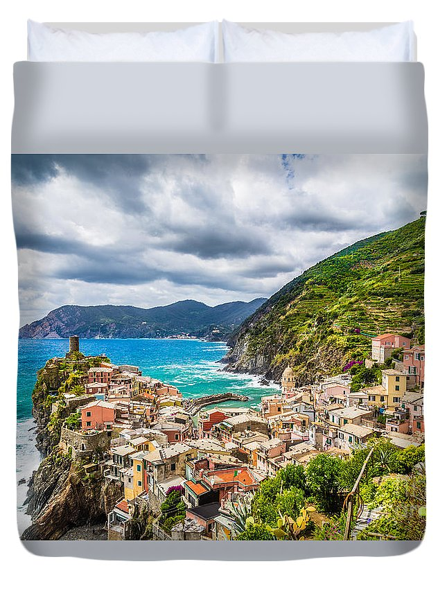 Architecture Duvet Cover featuring the photograph Storm Over Cinque Terre by JR Photography