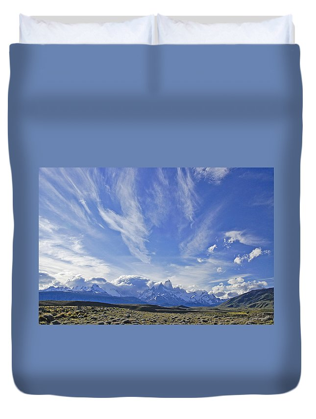 Argentina Duvet Cover featuring the photograph Storm Over Fitz Roy 4 by Michele Burgess
