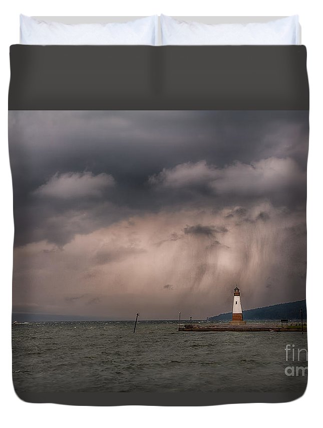 Michele Duvet Cover featuring the photograph Storm Over Myers Point by Michele Steffey