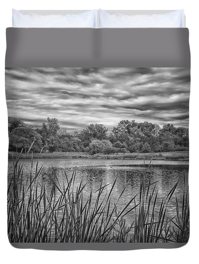 Pond Duvet Cover featuring the photograph Storm Passing The Pond In Bw by Thomas Woolworth