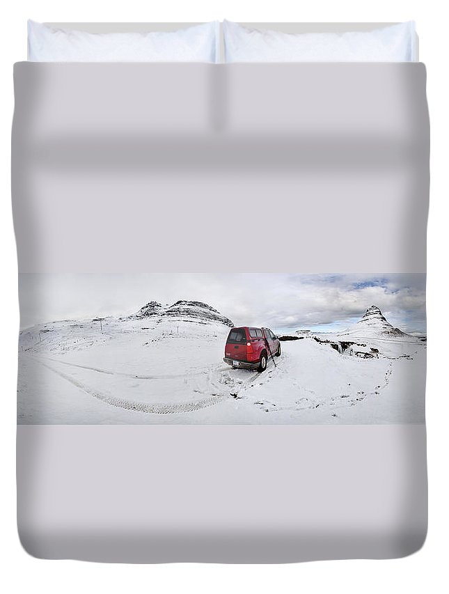 Kirkjufell Duvet Cover featuring the photograph Storm Rider by Evelina Kremsdorf