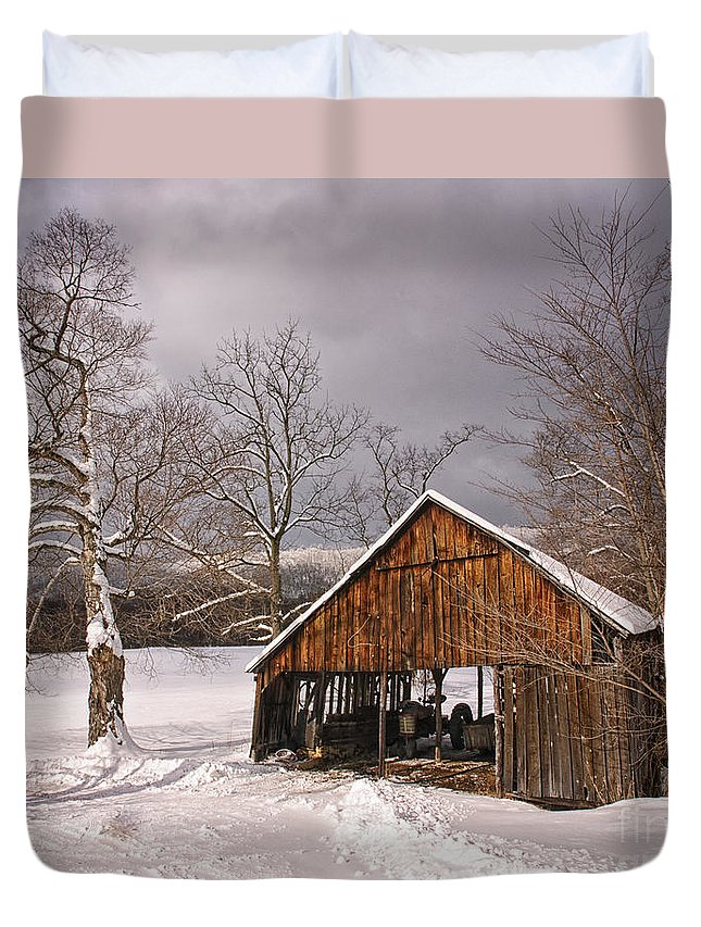 Storm Duvet Cover featuring the photograph Storm Shed by Timothy Flanigan