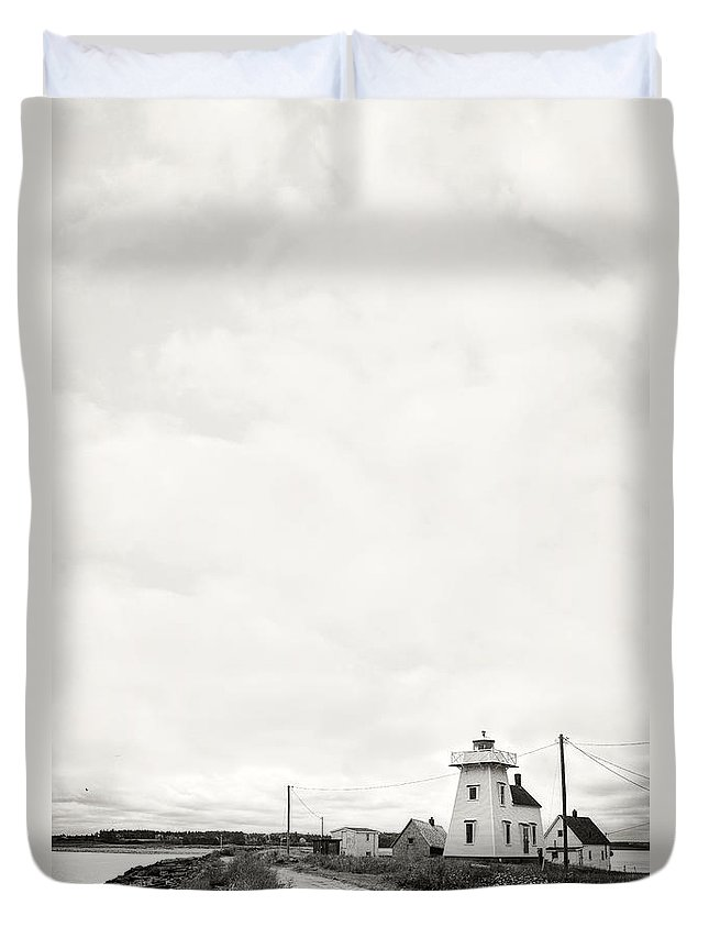 Copy Duvet Cover featuring the photograph Storm Threatening A Coastal Town by Edward Fielding