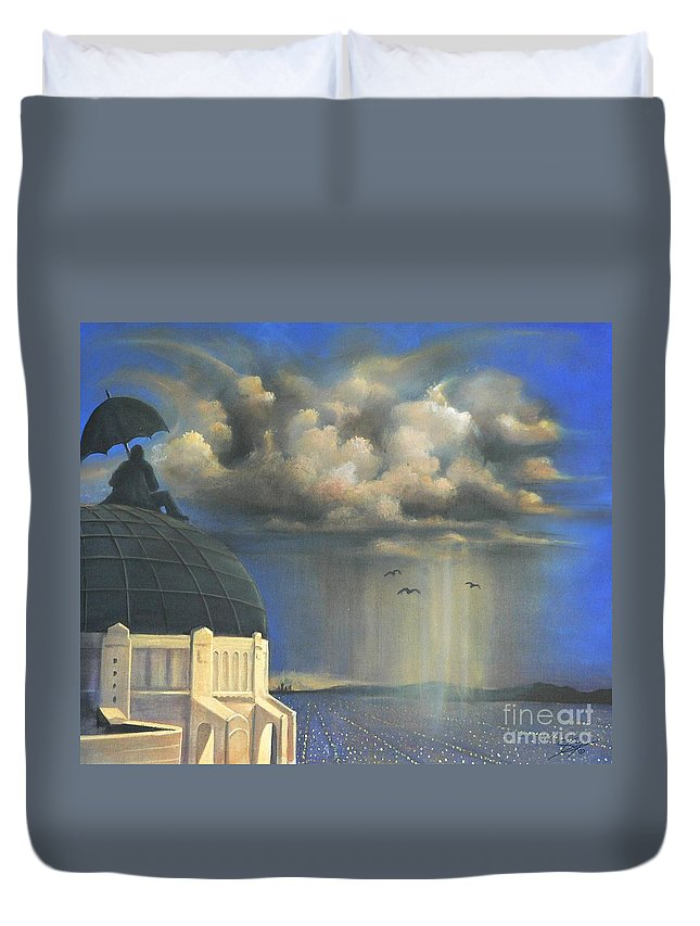 Storm Duvet Cover featuring the painting Storm Watch At Griffith's by Artist ForYou
