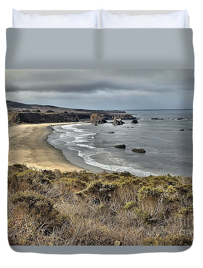 Bug Sur Duvet Cover featuring the photograph Storms Over An Unspoiled Beach by Adam Jewell