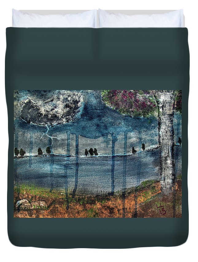 Storm Duvet Cover featuring the painting Stormsong by Laura Lawless
