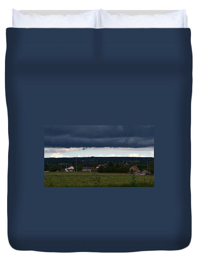 French. France Duvet Cover featuring the photograph Stormy Countryside by Cheryl Miller