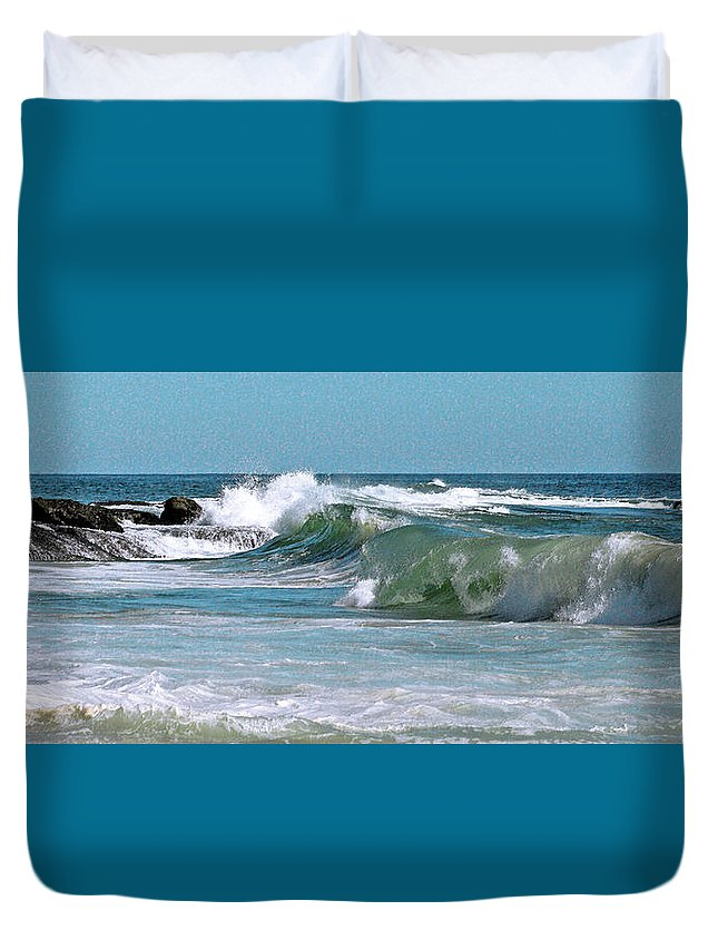 Seascape Duvet Cover featuring the photograph Stormy Lagune - Blue Seascape by Ben and Raisa Gertsberg