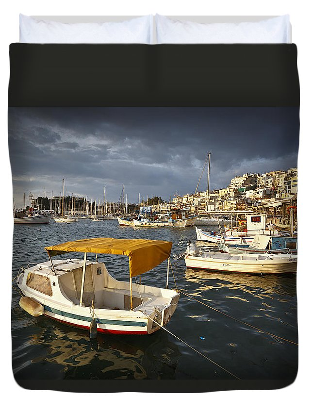 Athens Duvet Cover featuring the photograph Stormy Mikrolimano by Milan Gonda