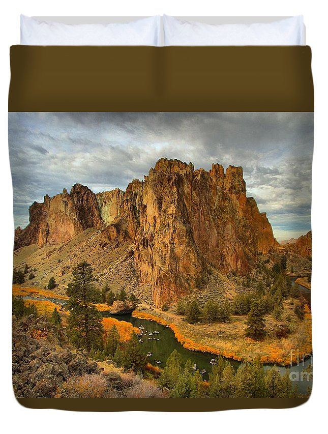 Smith Rock Duvet Cover featuring the photograph Stormy Over Smith Rock by Adam Jewell