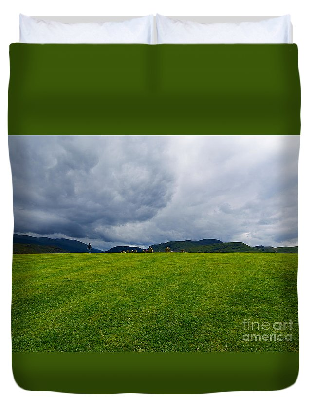 Castlerigg Stone Circle Duvet Cover featuring the photograph Stormy Sky Above Castlerigg Stone Circle by Louise Heusinkveld