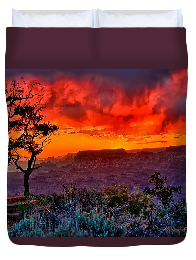 Grand Canyon National Park Duvet Cover featuring the photograph Stormy Sunset At The Watchtower by Greg Norrell