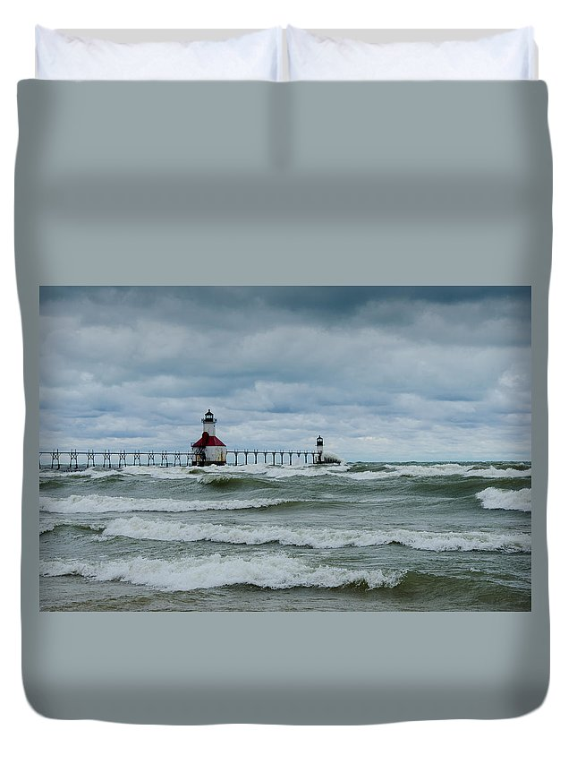 Christopher List Duvet Cover featuring the photograph Stormy Waters by Gales Of November