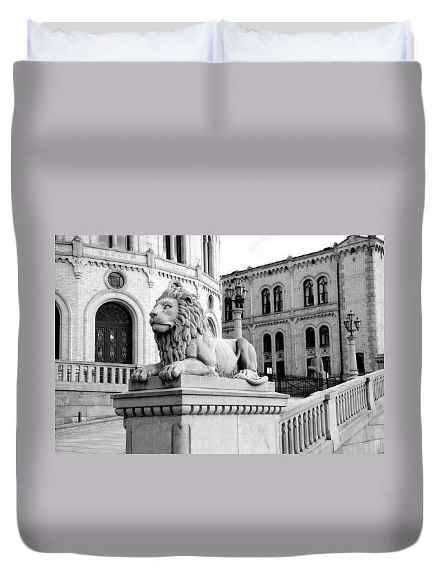 Norway Duvet Cover featuring the photograph Stortinget Parliament Building Oslo Norway by Zina Zinchik