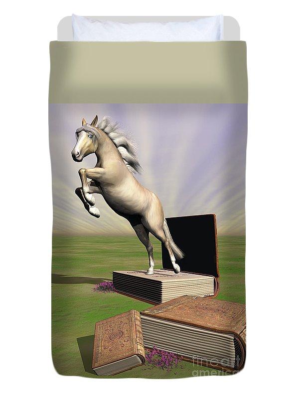 miniature Horse Duvet Cover featuring the digital art Story Book by Shari Nees