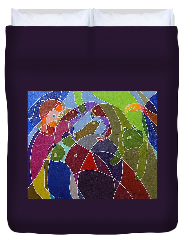 Birds Duvet Cover featuring the painting Story Told By Green Cat. by Andrzej Pietal