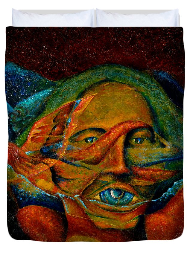 Native American Duvet Cover featuring the painting Storyteller by Kevin Chasing Wolf Hutchins