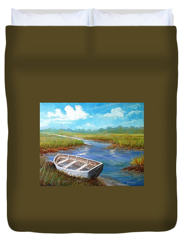 Boat Duvet Cover featuring the painting Stranded by Keith Wilkie