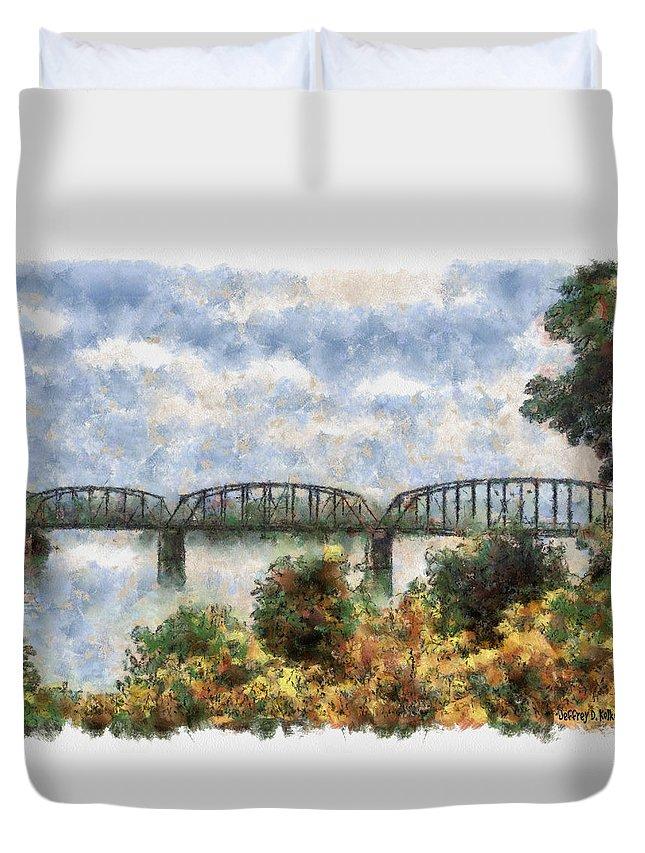 Strang Duvet Cover featuring the painting Strang Bridge by Jeffrey Kolker