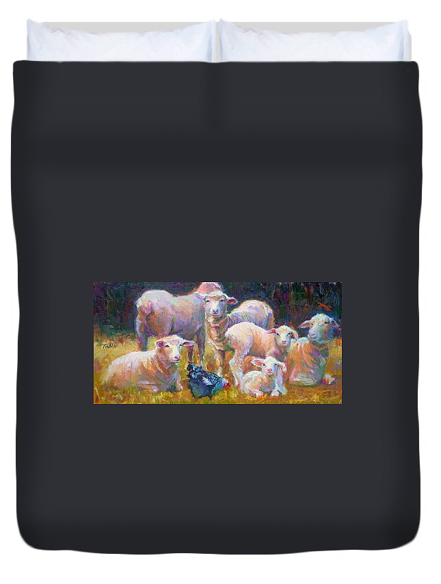 Lamb Duvet Cover featuring the painting Stranger At The Well - Spring Lambs Sheep And Hen by Talya Johnson