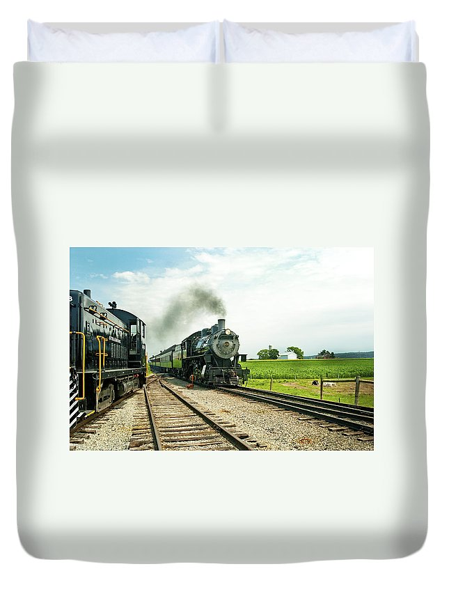 Railroad Duvet Cover featuring the photograph Strasburg Express by Paul W Faust - Impressions of Light