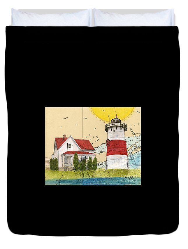 Stratford Duvet Cover featuring the painting Stratford Pt Lighthouse Ct Nautical Chart Map Art by Cathy Peek