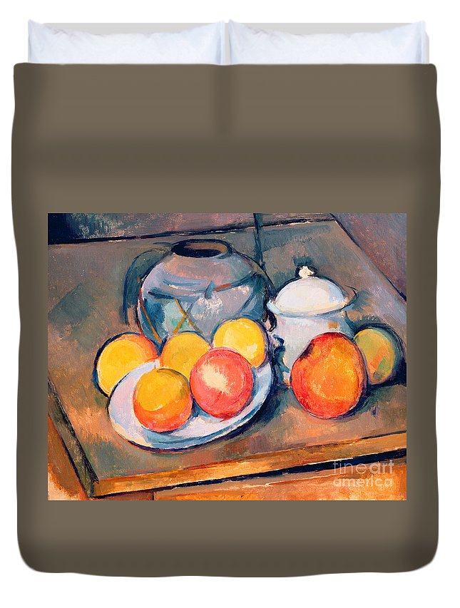 Still Life Duvet Cover featuring the painting Straw Covered Vase Sugar Bowl And Apples by Paul Cezanne