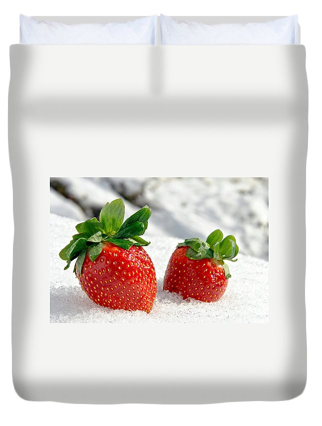 Strawberries Duvet Cover featuring the photograph Strawberries On Ice by Olivier Le Queinec