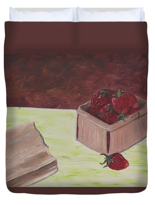 Fruit Duvet Cover featuring the painting Strawberry Basket by Barbara McDevitt