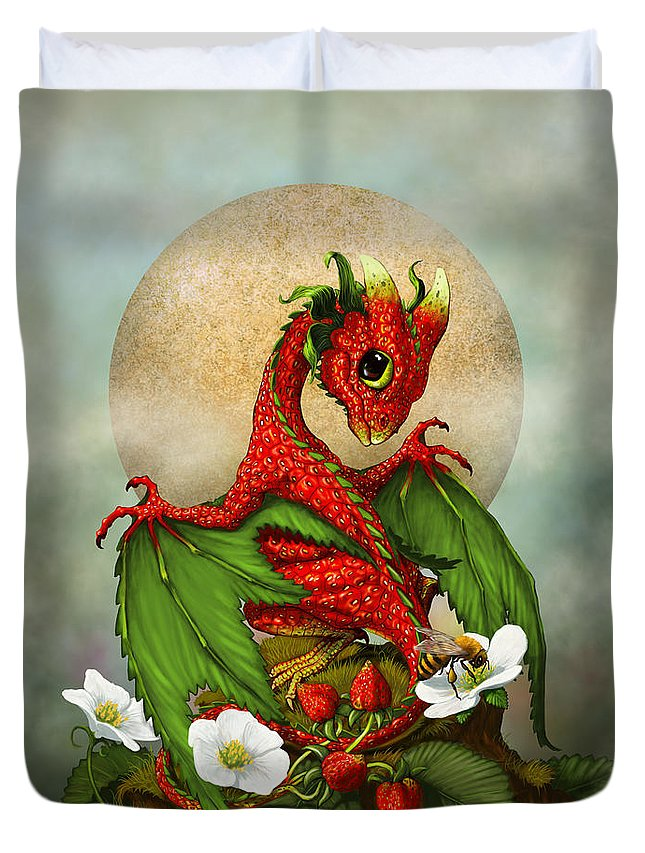 Dragon Duvet Cover featuring the digital art Strawberry Dragon by Stanley Morrison