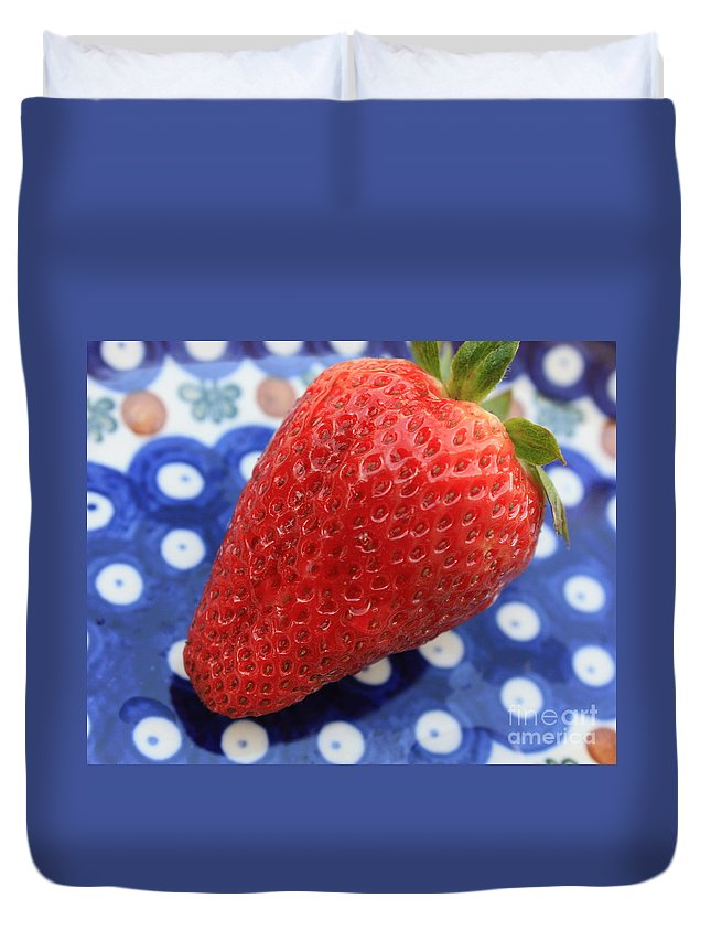Strawberry Duvet Cover featuring the photograph Strawberry On Blue Plate by Carol Groenen