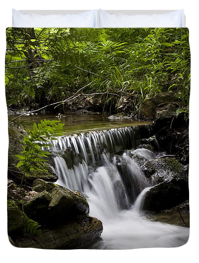 Stream Duvet Cover featuring the photograph Stream In The Forest by Janique Robitaille