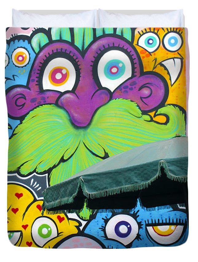 Street Art Duvet Cover featuring the photograph Street Art Lima Peru 2 by Kurt Van Wagner
