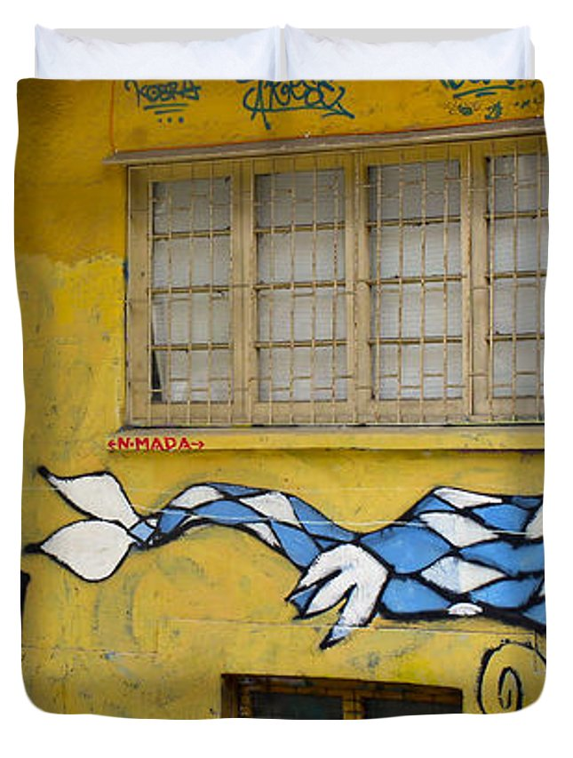 Street Art Duvet Cover featuring the photograph Street Art Valparaiso Chile 12 by Kurt Van Wagner