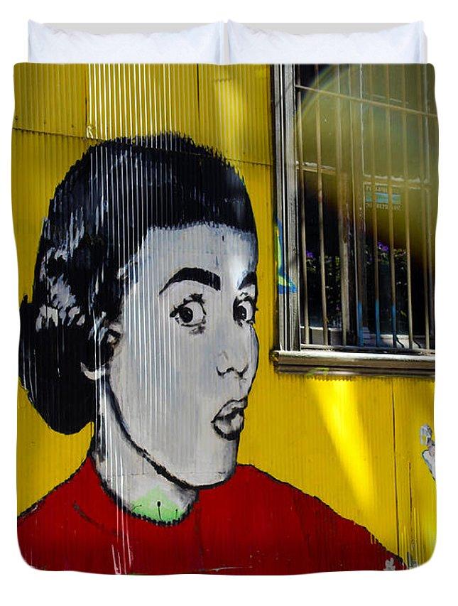 Street Art Duvet Cover featuring the photograph Street Art Valparaiso Chile 7 by Kurt Van Wagner