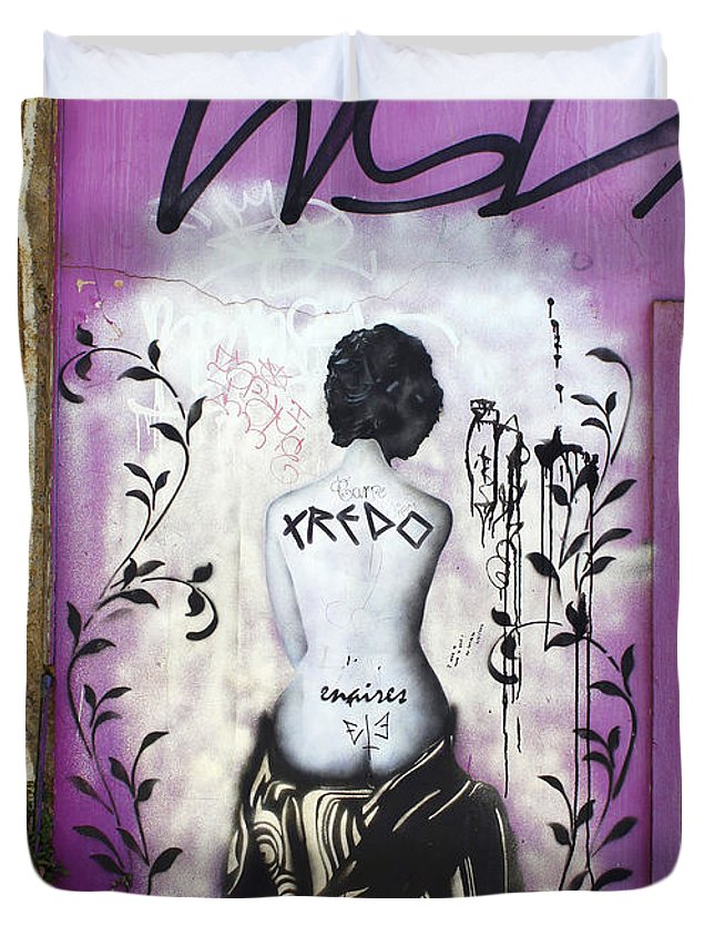 Street Art Duvet Cover featuring the photograph Street Art Valparaiso Chile 8 by Kurt Van Wagner