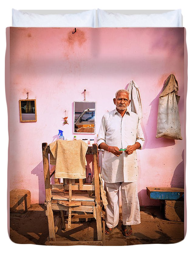 Working Duvet Cover featuring the photograph Street Barber In India by Nikada