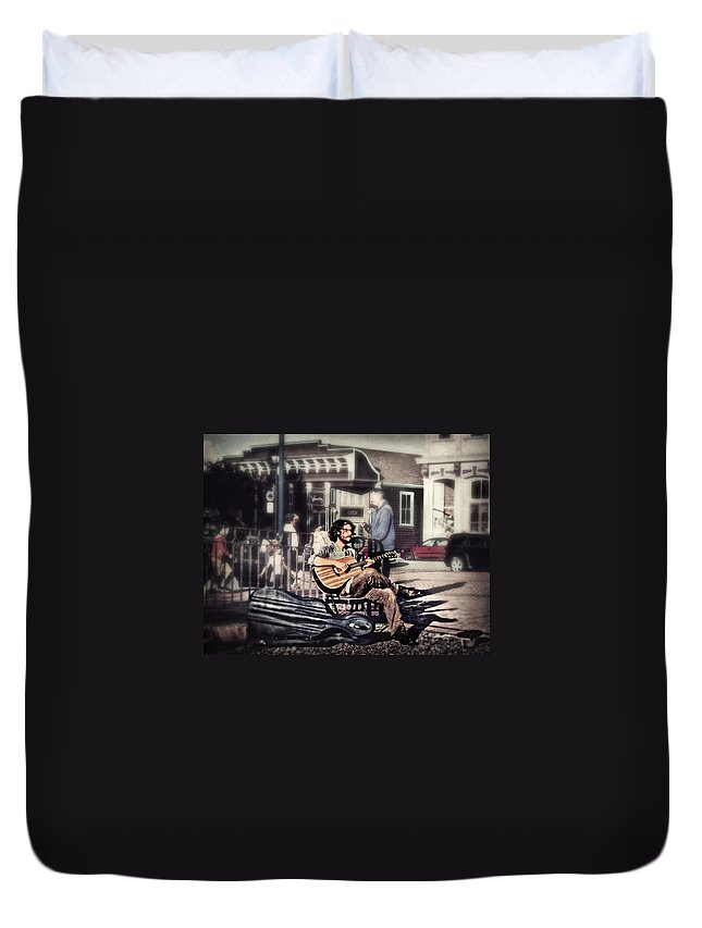 Music Duvet Cover featuring the photograph Street Beats by Melanie Lankford Photography